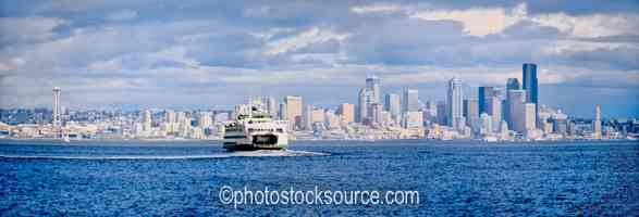 Photo of Seattle Skyline and Ferry